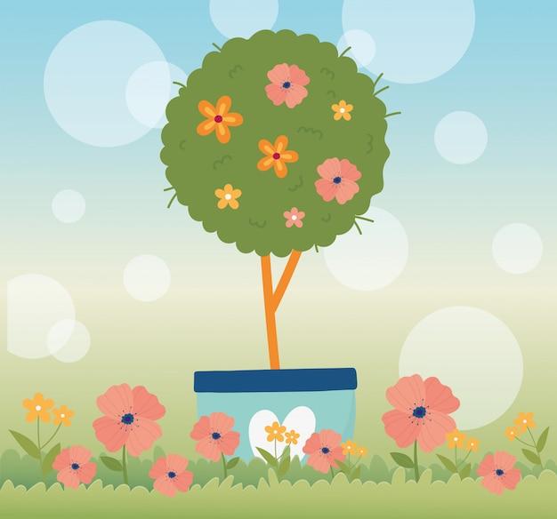 La molla felice, albero fiorisce nel fondo floreale della sfuocatura dell'erba del vaso