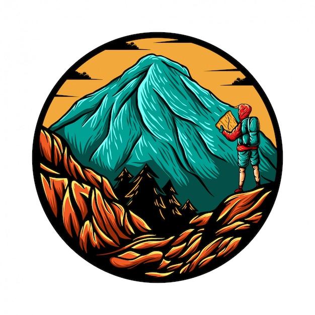 La montagna esplora l'illustrazione