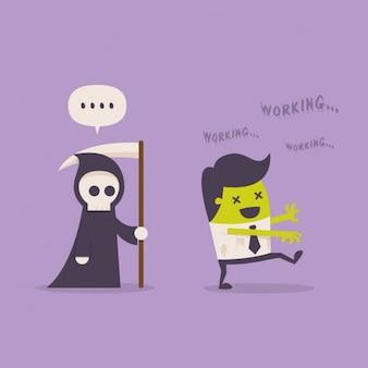 La morte dietro un zombie dipendente
