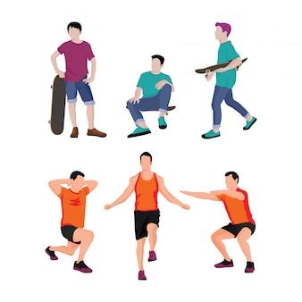 La mozione di uomini che praticano sport e illustrazione di skateboard