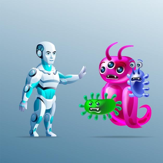 La nanotecnologia. il robot ferma un batterio. nanorobot e cellule e bioingegneria