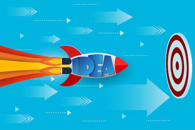 La navetta spaziale vola verso l'obiettivo per raggiungere il successo
