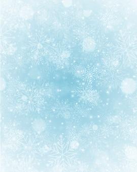 La neve magica del fondo dell'inverno di natale scintilla luci e fiocchi di neve con lo spazio in bianco della copia