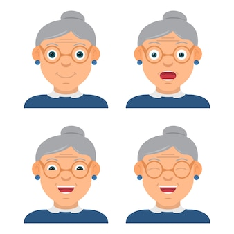 La nonna divertente che indossa gli occhiali il personaggio con diverse emozioni e uno sguardo.
