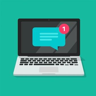 La nuova icona dell'avviso del messaggio di testo di chiacchierata sul computer portatile online o ha ricevuto sul simbolo di chiacchierata del fumetto di notifica in arrivo del pc ha isolato il clipart