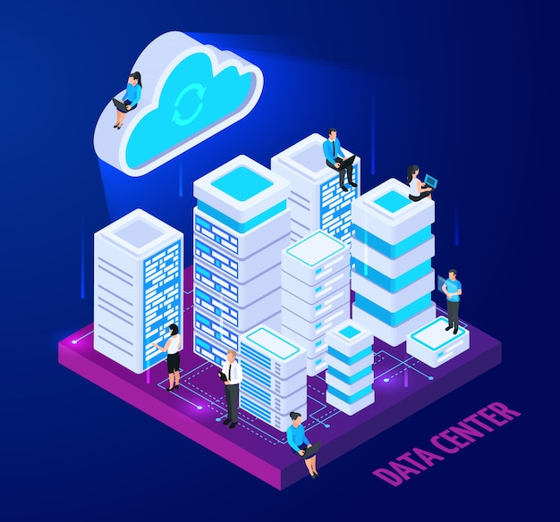 La nuvola assiste la composizione concettuale isometrica con le immagini degli scaffali del server e dei caratteri della piccola gente con l'illustrazione di vettore del testo