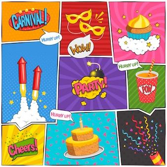 La pagina comica di carnevale e del partito progetta con l'illustrazione di vettore isolata piano di simboli di divertimento