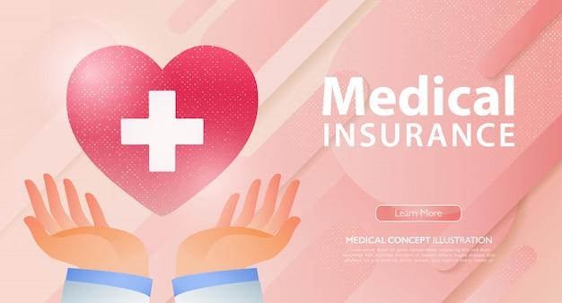 La pagina di atterraggio di affari di assicurazione sulla vita e di sanità con medico passa la tenuta del cuore rosso con la croce bianca.
