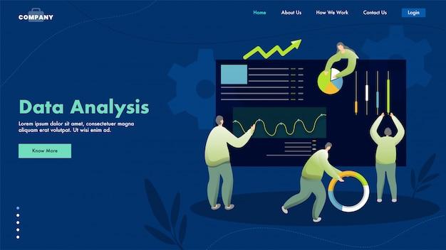 La pagina di destinazione basata sull'analisi dei dati con uomini d'affari o analisti mantiene i dati sul sito web.