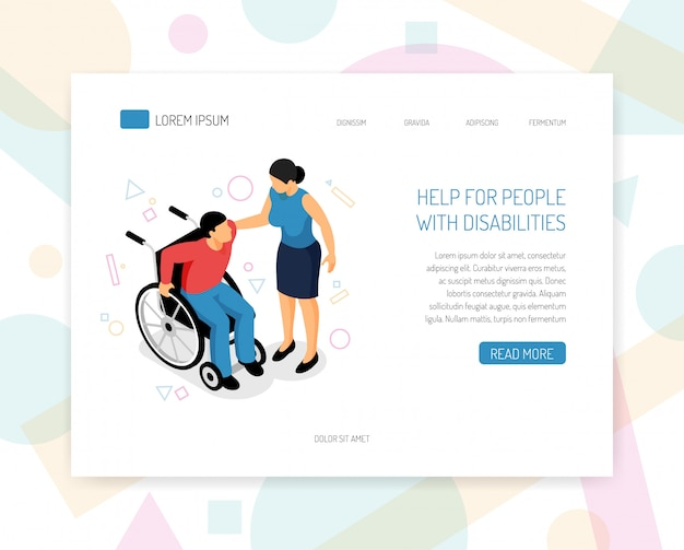 La pagina di destinazione o il modello web con le persone disabili aiutano le organizzazioni di volontari ad addestrare la raccolta di fondi per la progettazione di pagine web isometriche con illustrazione vettoriale di assistenza per sedie a rotelle