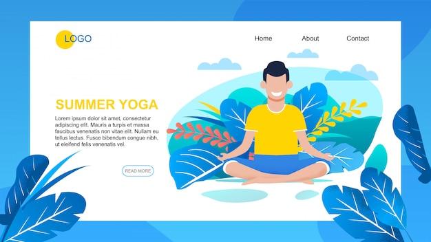La pagina di destinazione per l'applicazione offre esercizi di yoga estivo