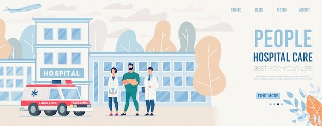 La pagina di destinazione presenta il centro medico sanitario