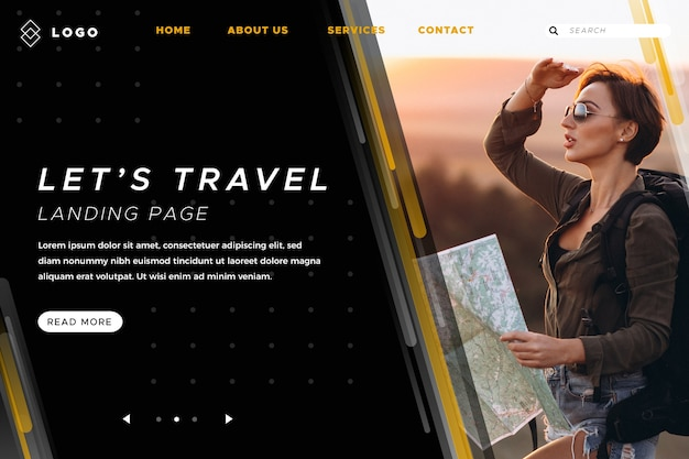La pagina di destinazione viaggia con foto
