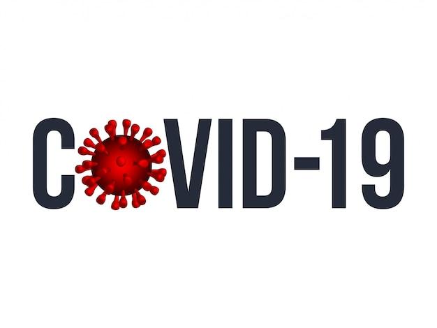 La parola covid-19 con l'icona di coronavirus., 2019-ncov romanzo concetto di coronavirus