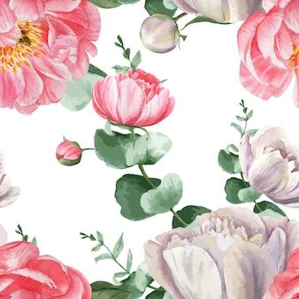 La peonia fiorisce il tessuto d'annata botanico floreale senza cuciture dell'acquerello di stile dell'acquerello del modello dell'acquerello