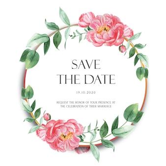 La peonia rosa avvolge i fiori dell'acquerello con testo