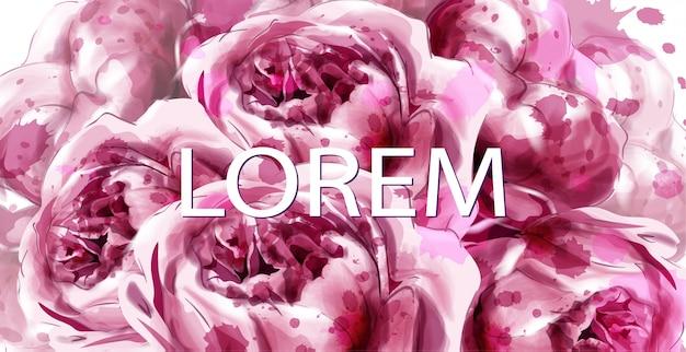 La peonia rosa fiorisce la bandiera dell'acquerello