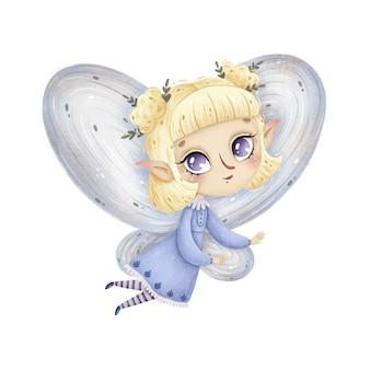 La piccola fata della foresta del fumetto sveglio con le ali vola su un fondo bianco