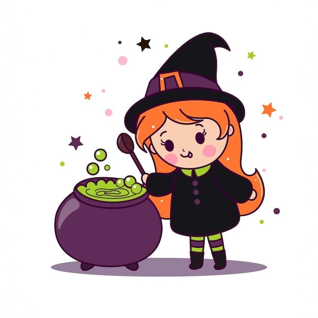 La piccola strega kawaii cucina pozione verde magica in calderone.