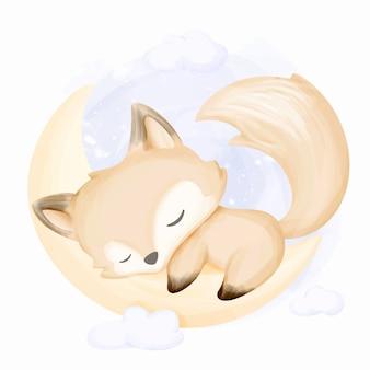 La piccola volpe dorme sulla luna