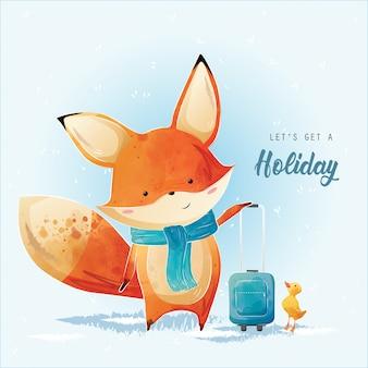 La piccola volpe sta ottenendo una vacanza