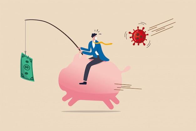La politica di stimolo del denaro per la crisi del coronavirus, il qe o l'iniezione di denaro per aiutare l'economia e le imprese a sopravvivere nell'epidemia di covid-19, l'uomo d'affari che cavalca la pesca del salvadanaio con banconote in denaro fuggite dal virus.