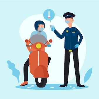 La polizia controlla il coronavirus