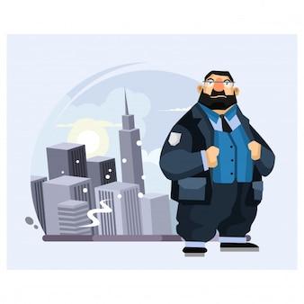 La polizia grassa è nel mezzo della città al personaggio dei cartoni animati