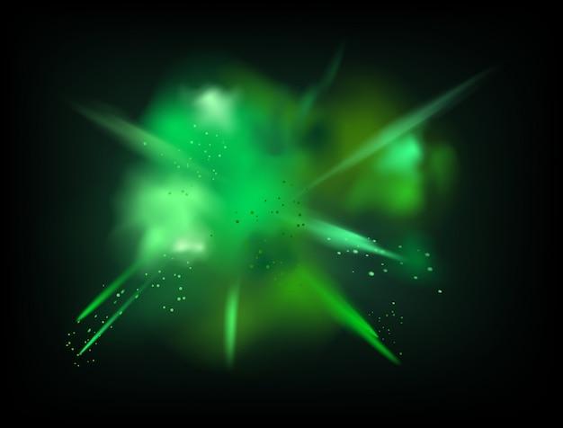 La polvere astratta ha splatted il fondo di vettore. esplosione di polvere verde su sfondo scuro