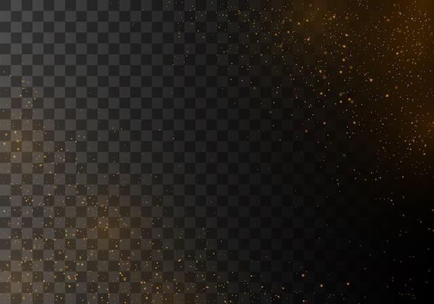 La polvere scintilla e le stelle dorate brillano di luce speciale.