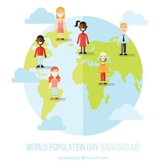 La popolazione mondiale day background nel design piatto