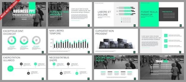 La presentazione aziendale fa scorrere i modelli dagli elementi infographic