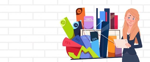 La presentazione della tenuta della donna di affari controlla il seminario astratto della donna di affari del grafico e dei grafici