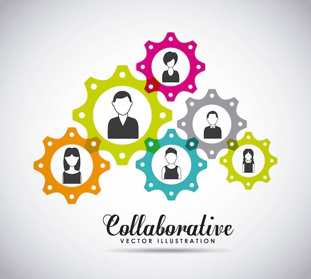 La progettazione collaborativa della gente, vector il grafico dell'illustrazione eps10