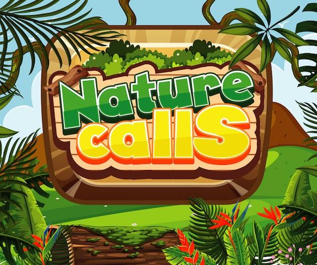La progettazione del carattere per le parole della natura chiama con la foresta in background