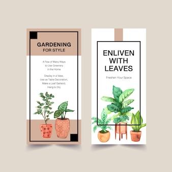 La progettazione del modello dell'aletta di filatoio delle piante dell'estate per l'opuscolo, libretto, fa pubblicità all'illustrazione dell'acquerello