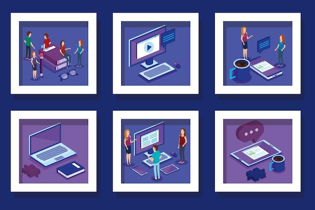 La progettazione dell'illustrazione di vettore delle attrezzature per ufficio e della gente progetta