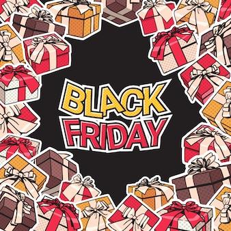 La progettazione dell'insegna di black friday con il presente e contenitori di regalo incorniciano sul concetto del manifesto di acquisto del fondo