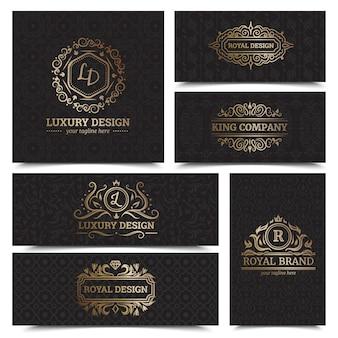 La progettazione delle etichette dei prodotti di lusso ha messo con l'illustrazione di vettore isolata piano di simboli reali di marca