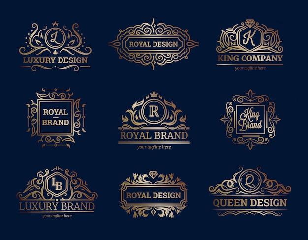 La progettazione di etichette di lusso ha messo con l'illustrazione di vettore isolata piana di simboli di qualità premio
