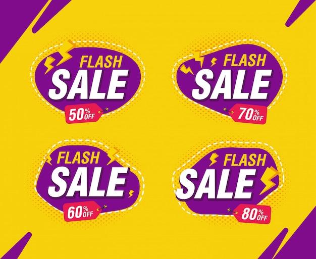 La promozione istantanea del modello dell'insegna di sconto di vendita nella raccolta porpora e gialla ha messo con lo sconto del prezzo da pagare.