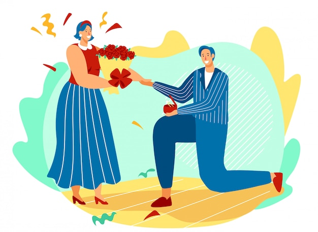 La proposta di matrimonio, l'uomo sul ginocchio piegato offre l'anello alla donna felice, illustrazione di vettore