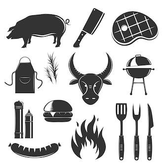 La raccolta d'annata degli elementi della bistecca con le immagini monocromatiche isolate della siluetta delle salse e dell'illustrazione delle coltelleria delle spezie dei prodotti a base di carne