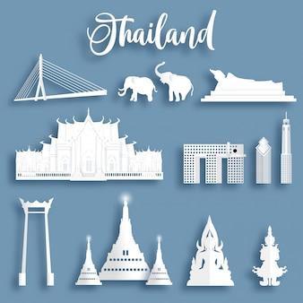 La raccolta dei punti di riferimento famosi della tailandia in carta ha tagliato l'illustrazione di vettore di stile.