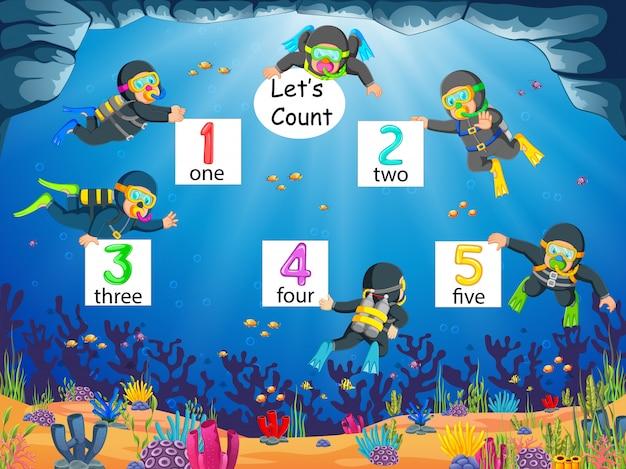 La raccolta del numero 1 fino al 5 con il subacqueo sotto l'oceano
