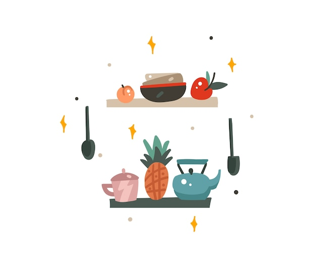 La raccolta di immagini grafiche moderne del fumetto astratto disegnato a mano delle azione ha messo l'arte delle illustrazioni con gli elementi interni della cucina su fondo bianco.