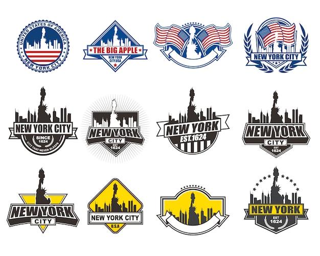 La raccolta di progettazione del distintivo di vettore ha messo con il tema di new york