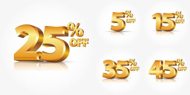 La raccolta di sconto oro lucido numera le percentuali fuori isolata su fondo bianco con la riflessione, o la pubblicità di vendita di sconto di promozione