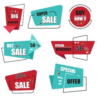 La raccolta moderna dell'etichetta e delle etichette di vendita di origami vector