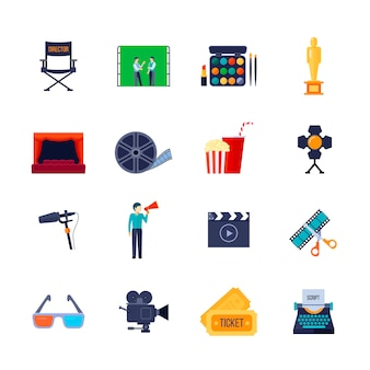La raccolta piana delle icone di attributi di filmmaking e di filmmaking con la bobina del film della macchina fotografica ed i vetri 3d hanno isolato l'illustrazione di vettore
